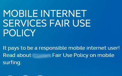 Internet Fair Usage policy is being declared at Globe's website