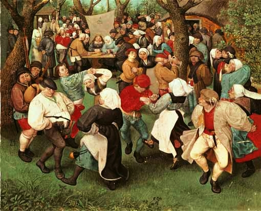Peasant wedding dance outdoors, Pieter Bruegel the Elder, 1526 or 1530 - 1569, on display at the Uffizi Gallery in Florence, Italy.