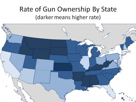 THE DARKER BLUES MEAN THAT STATE HAS A HIGHER RATE OF GUN OWNERSHIP - CHART 3