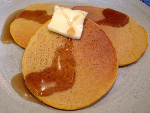 Pumpkin Kefir Pancakes Served with Butter & Maple Syrup by Molly Brose