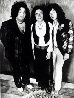 Leslie West (at left) in a photo of West, Bruce and Laing