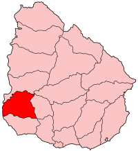 Map location of Soriano Deparment, Uruguay
