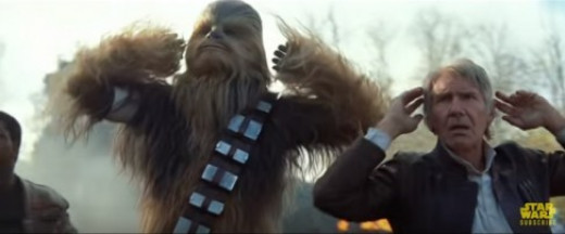Han and Chewbacca surrendering in The Force Awakens Trailer