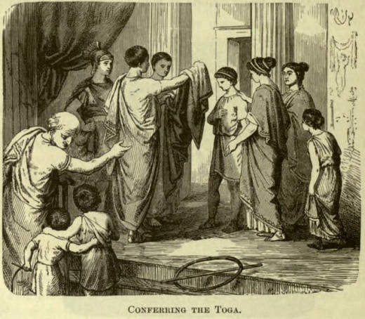 """Conferring a toga"" from Pictorial History of the World's Great Nations - Rome"
