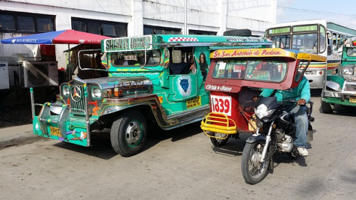 The jeepney and tricycle are the most common modes of transportation in the Philippines.