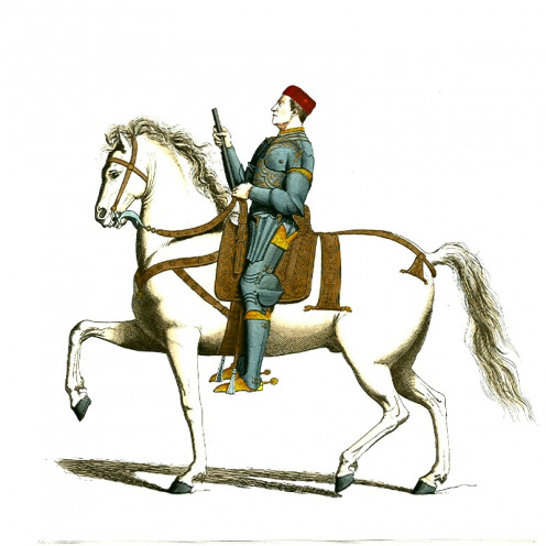 Armoured Man Mounted on Horse (Scanned and archived at www.OldBookArt.com where it was marked as Public Domain.)