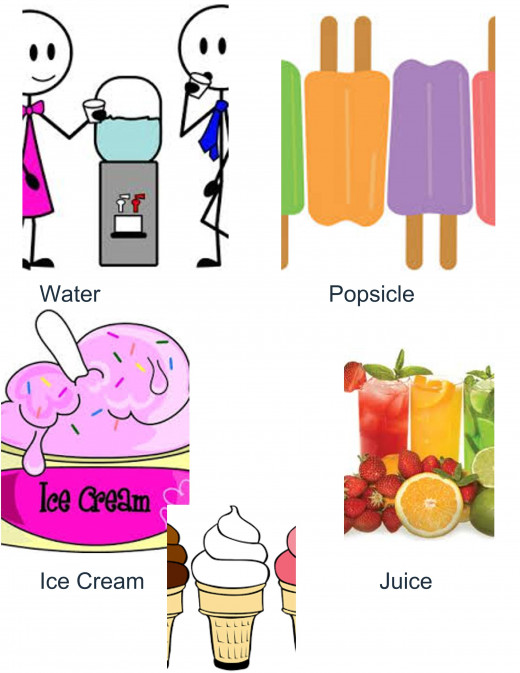 Water, Popsicle, Ice Cream and Juice