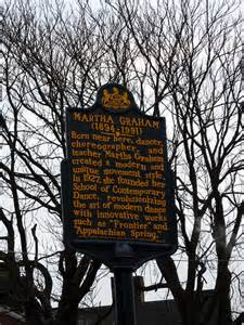 It was almost a spiritual happening that when I was contemplating what female choreographer to write about that I see the plaque honoring Martha Graham's birth in Pittsburgh, a plaque I had passed hundreds of times.