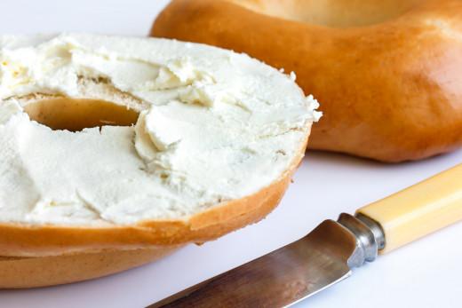 Bagel with dairy-free vegan cashew cream cheese