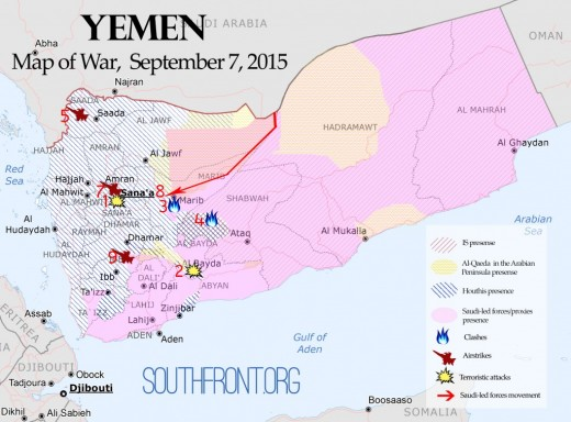 Map of the War on the Ground in Yemen, September 2015