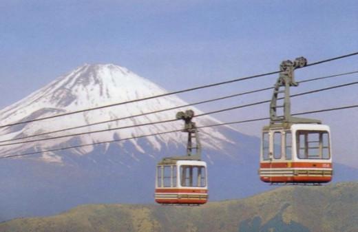 Owakudani Tram with Mt. Fuji