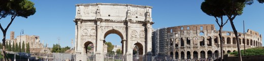 Rome Panorama: Roman Forum, Arch of Constantine and the Colosseum