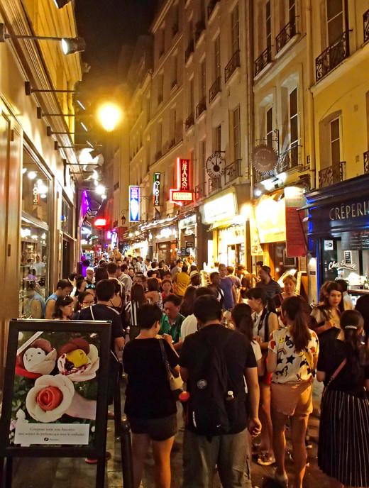 Paris by night: Rue de la Huchette near Gibert Jeune bookstore.