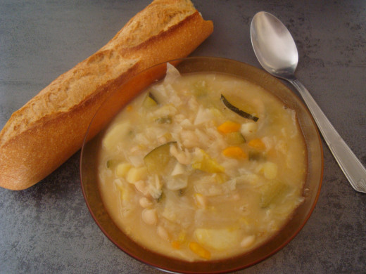 Delicious Bread, beans and vegetable Soup from Tuscany, Italy.