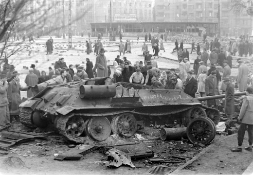 The famous picture of a defeated Soviet tank on Móricz square, Budapest, during the revolution of 1956.​