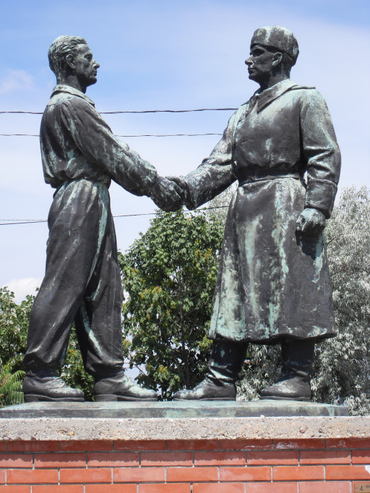 Statue depicting the 'Soviet-Hungarian friendship'. The Soviets branded themselves liberators when they arrived in Hungary, plunging the country into 45 years of further totalitarianism and complete state control and terror.​