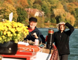 Terry and Monica Darlington in their narrowboat