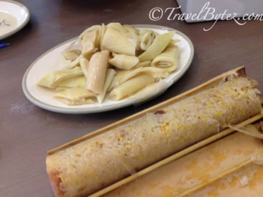 Stew Bamboo Shoots (background) and Bamboo tube rice (竹筒飯) (foreground)
