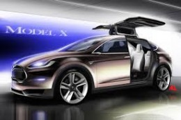 Tesla's Model X Crossover Vehicle is incredibly sleek and features back doors that open upward.