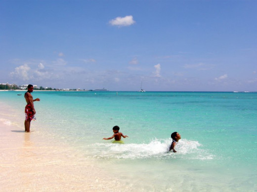 Frolicking on World Famous Seven Mile Beach, Grand Cayman