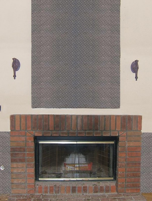 Stone Veneer Fireplace Installation Step 4 - Installation of Weather Resistant Layer and Metal Lath