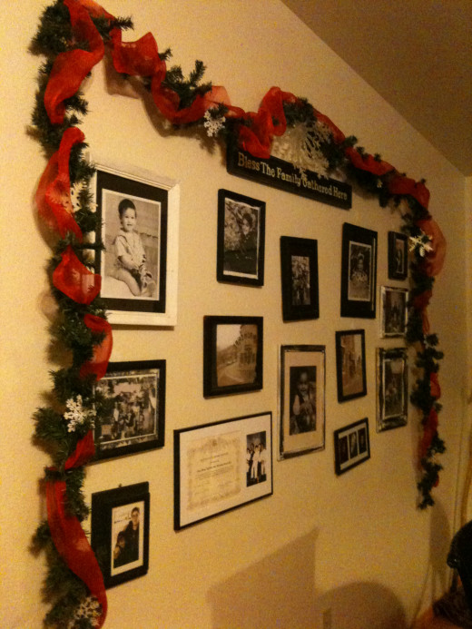 Framing our family photos with garland