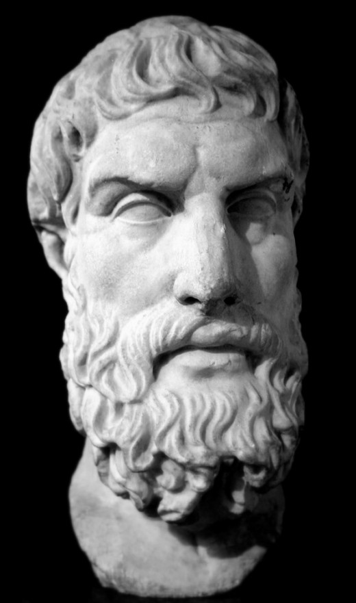 Bust of Epicurus, founder of his school of philosophy, the Epicureanism.