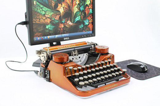 Writers will love this typewriter style keyboard that hooks up to their computer screen.
