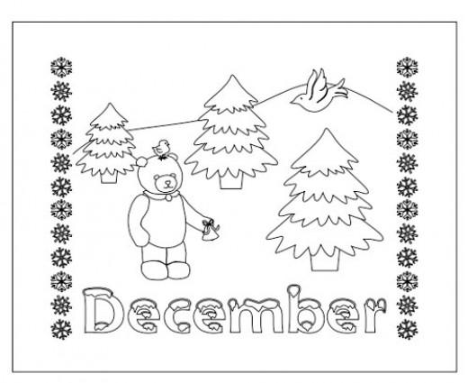 December Month Coloring Sheet