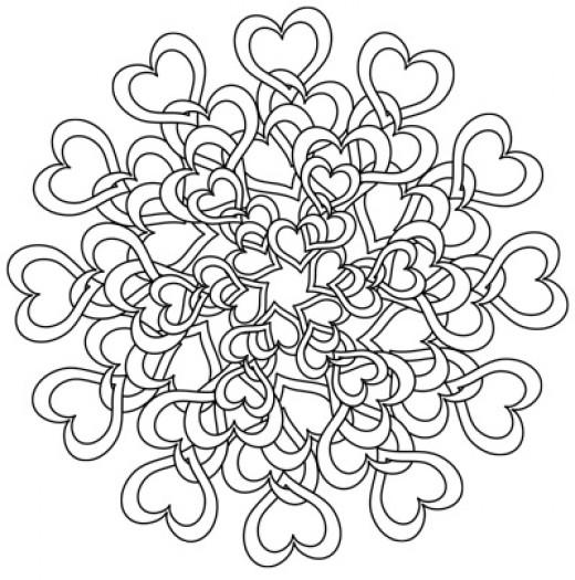 Love Tangle Hearts Mandala