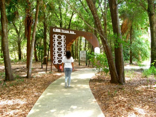 Walking part of the trail and outdoor exhibits