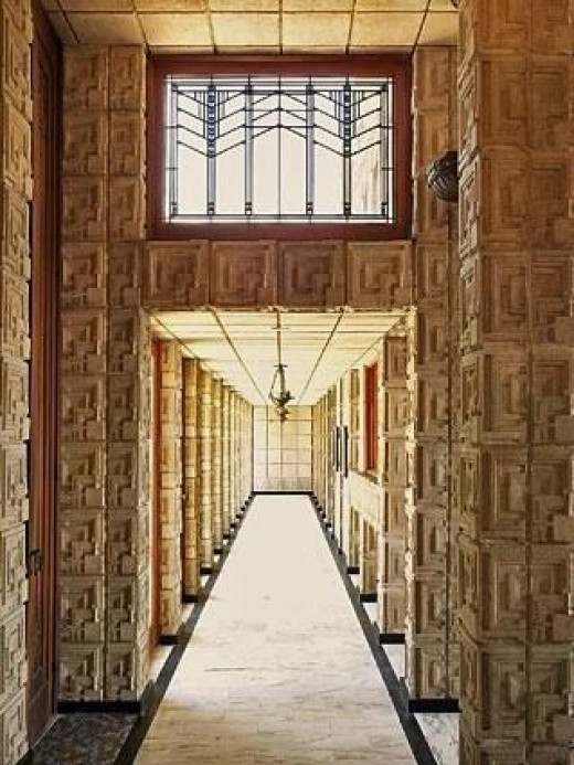 Interior hall, Ennis House, Los Angeles