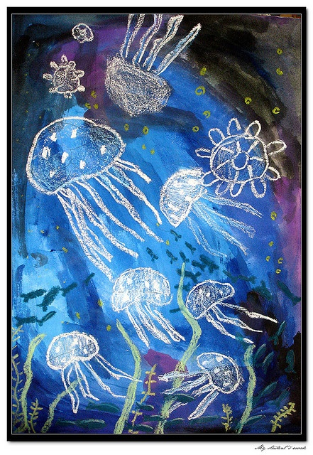 This one looks like one that was done with crayon, but you will get the same (potentially cleaner lines) effect with the candle wax.  Draw jellyfish with the wax - paint - scrape wax, there you would have it!