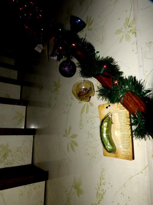 I spent time caring for my parents and would decorate the stairs as a tree for my Gods. Now it is a yearly tradition.