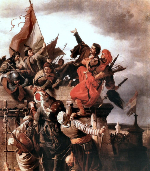 The legendary sacrifice of Titusz Dugovics. He allegedly dragged down the Turkish flag carrier who was about to claim the castle, both of them falling down the walls.