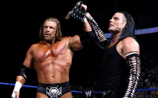 Jeff Hardy (right) with Triple H (Left).