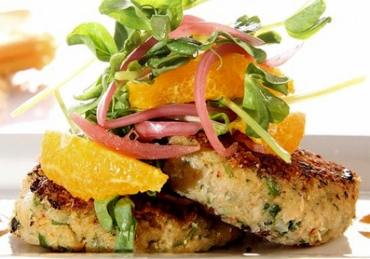 Crab cakes pair well with fresh herbs and fruit, especially seafood