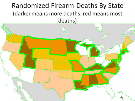 """RANDOMIZED"" DEATHS per 100,000:  ALL INJURIES - HOMICIDES - ALL MECHANISMS - GREEN ENCLOSES STATES WITH TOP 2 DEATH RATE BUCKETS - CHART 14"