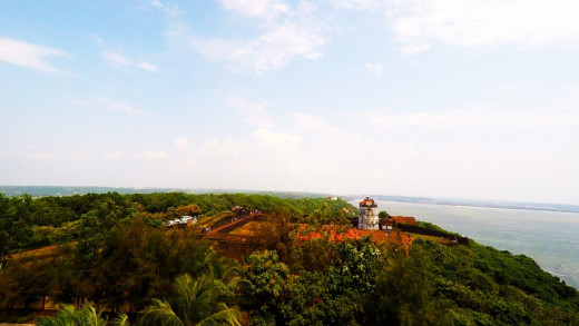 View of Fort Aguada from top of the Lighthouse.