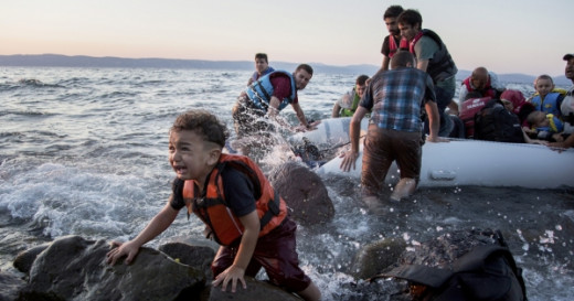 Syrian child arriving at Lesbos