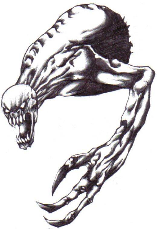 A demon creature drawn with a biro ball point pen.