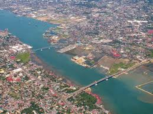 Cebu city with bridge to Mactan