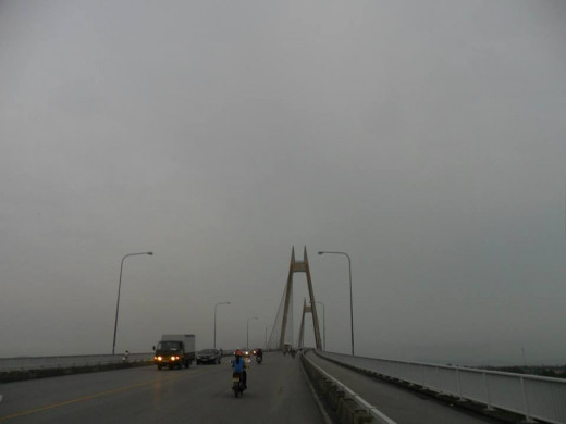 on the way to the ferry station under a gloomy sky