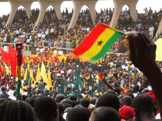 The people of Ghana at their independence day celebration. Ghana values hospitality.
