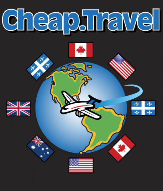 colorful poster with black background with the words Cheap Travel and a globe and various country flags