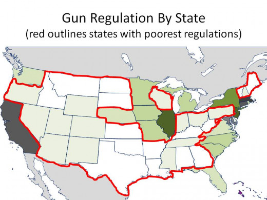 THE DARKER THE GREEN, THE STRONGER THE GUN REGULATIONS with TWO WORST GUN REGULATION RANKING CIRCLED - CHART 18
