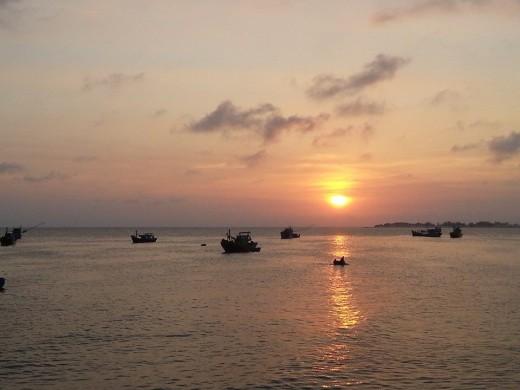 When the sunset bids humans farewell