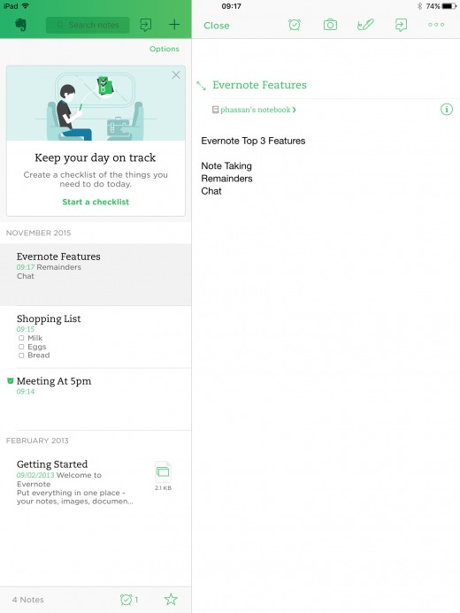 Evernote Sidebar Overview.Your Notes In The Other Pane.