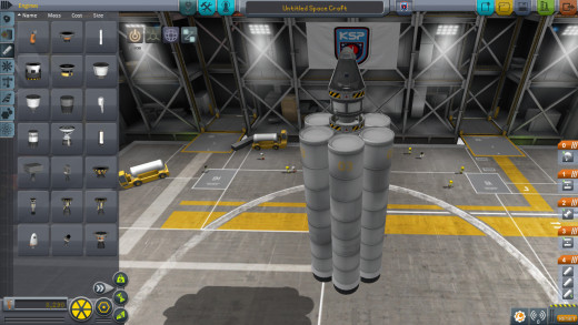 This rocket has far more boosters than it really needs - just the way Jebediah Kerman likes 'em.