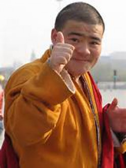 A monk left at the monastery alone and not invited to go with his brother monks into town.